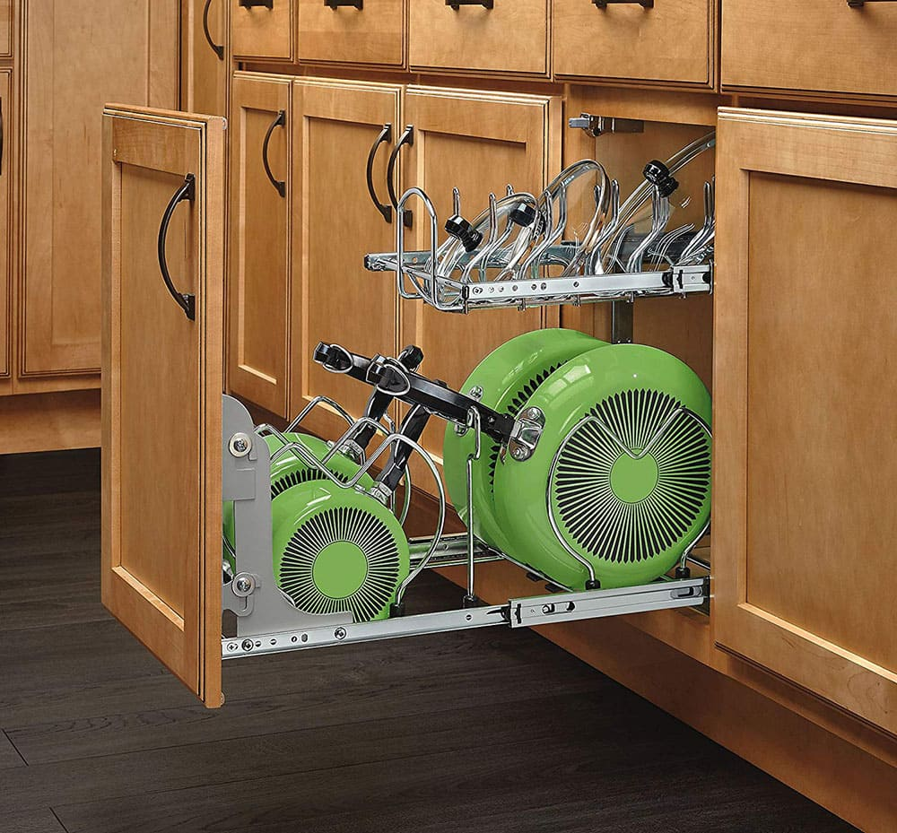 Kitchen cookware organizers.