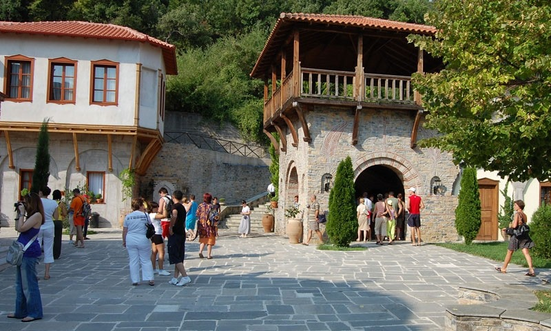 People viewing the sights of Veria