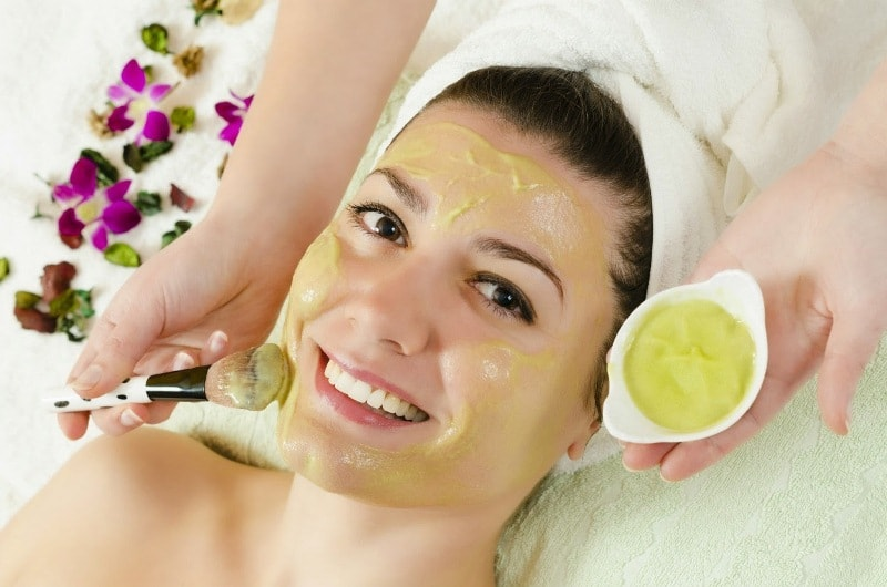 Lady removing blemishes