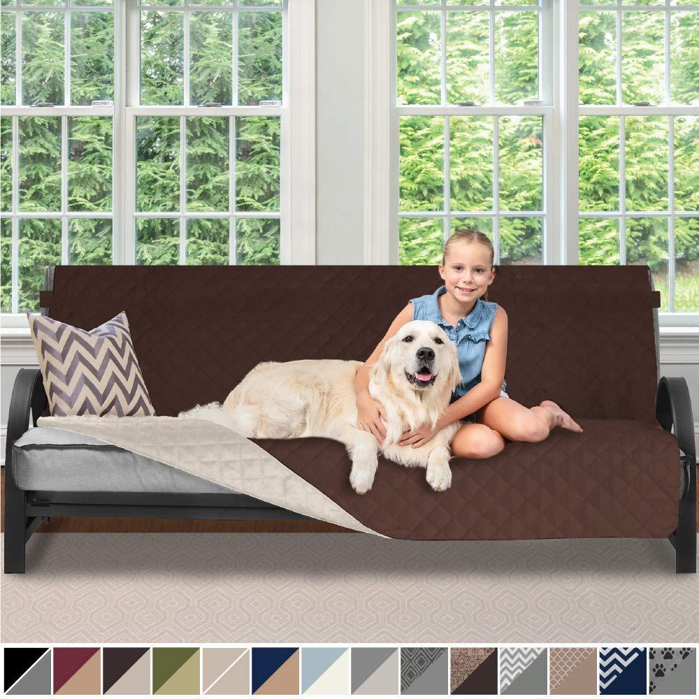 Girl and dog sitting on sofa.