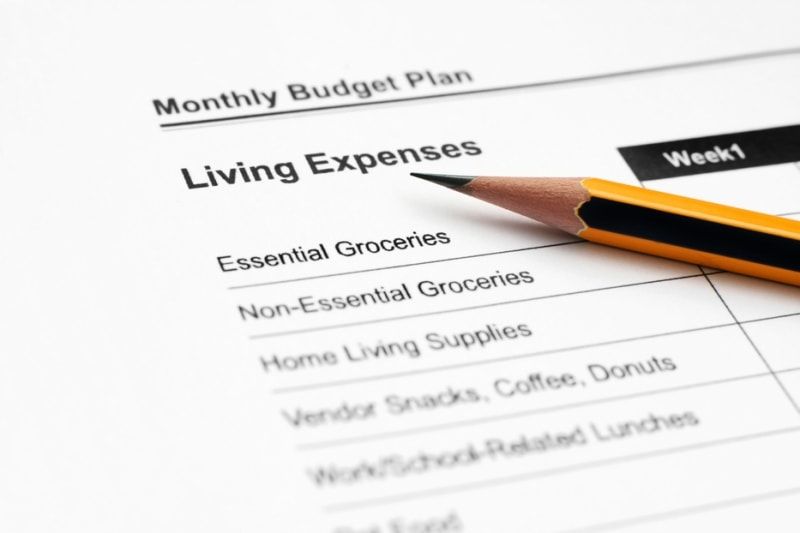 A monthly budget plan