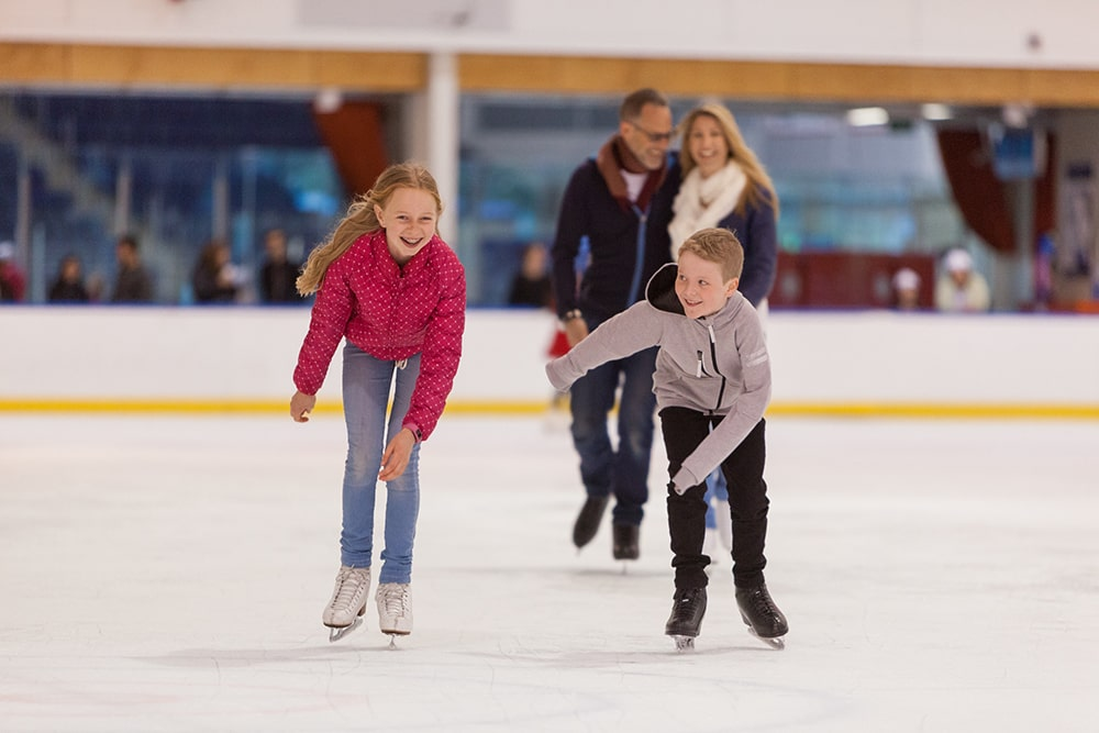 Family ice skating.