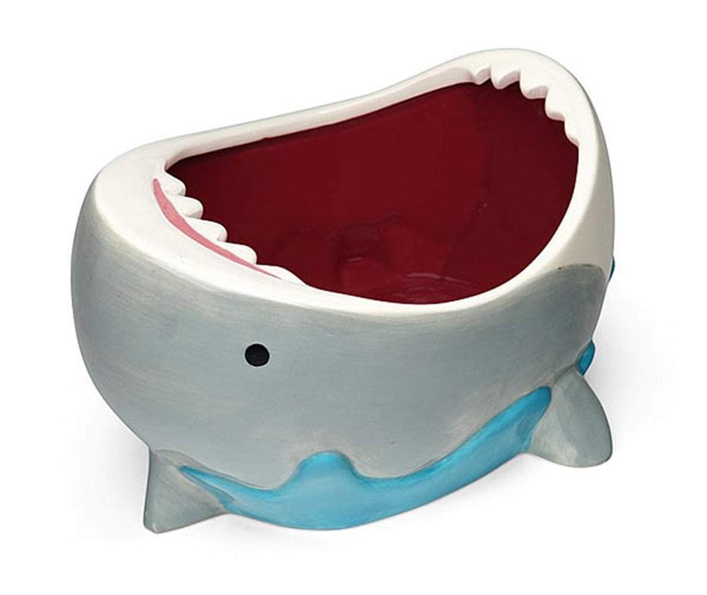 Shark-shaped themed bowl.