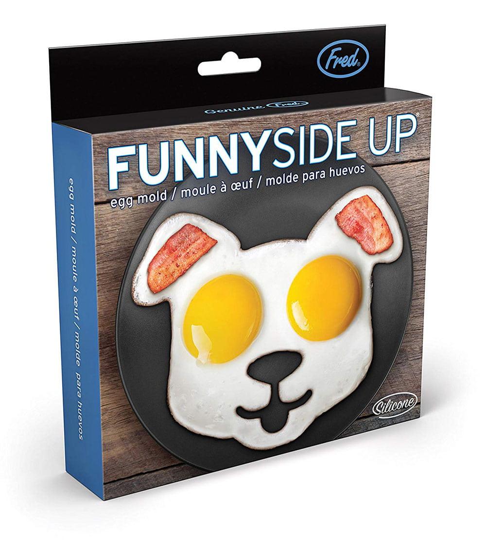 Dog-shaped silicone egg mold.