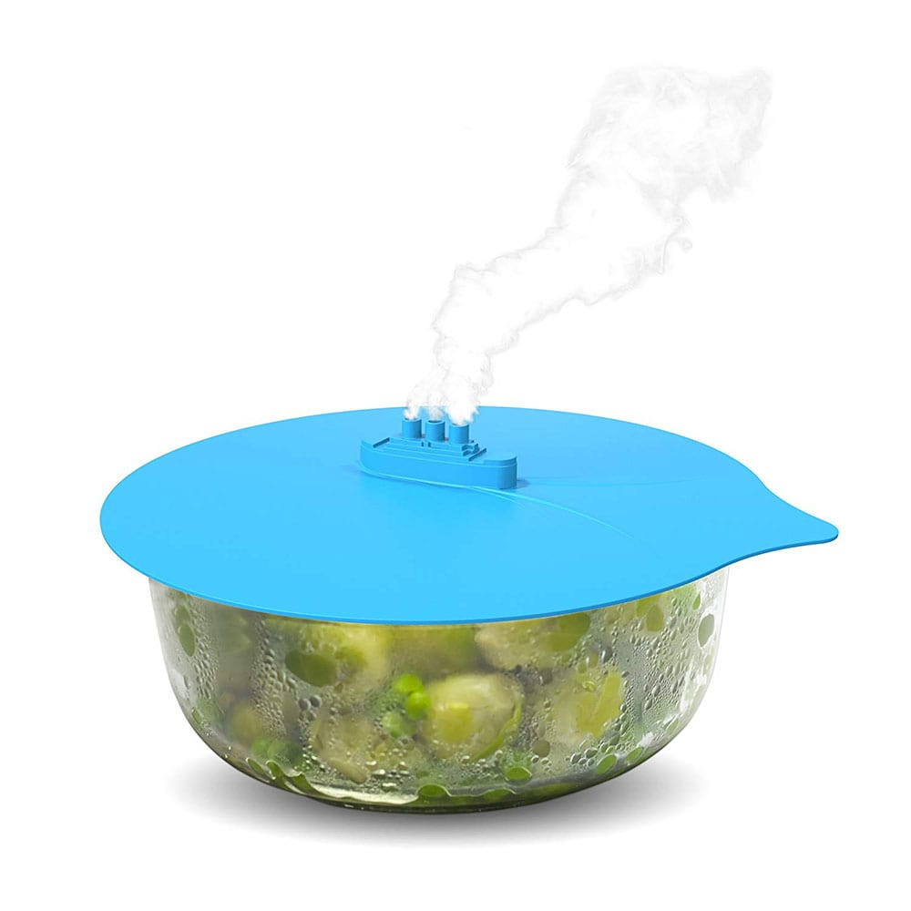 Silicone steaming lid.