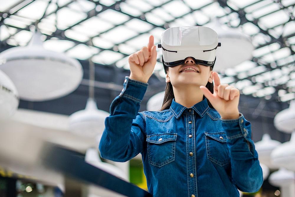 Woman using virtual reality headset.